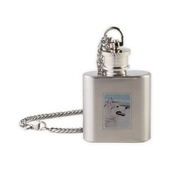 Siberian Husky (Silver and White) Flask Necklace