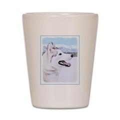 Siberian Husky (Silver and White) Shot Glass