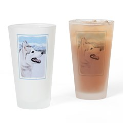 Siberian Husky (Silver and White) Drinking Glass