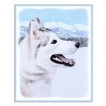 Siberian Husky (Silver and White) Small Poster