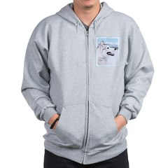 Siberian Husky (Silver and White) Zip Hoodie