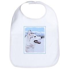 Siberian Husky (Silver and White) Cotton Baby Bib
