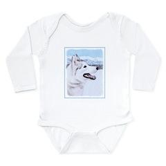 Siberian Husky (Silver Long Sleeve Infant Bodysuit