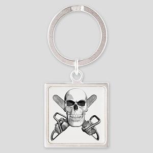 skull_chainsaws Square Keychain