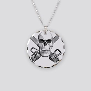 skull_chainsaws Necklace Circle Charm