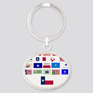 flags tx ind 2 Oval Keychain