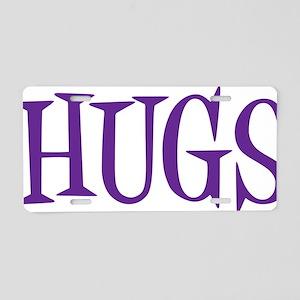 purple Hugs Aluminum License Plate