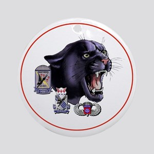 Panther v2_2nd-505th-White Round Ornament