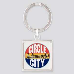 Indianapolis Vintage Label W Square Keychain