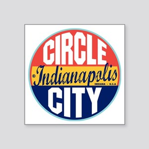 "Indianapolis Vintage Label  Square Sticker 3"" x 3"""