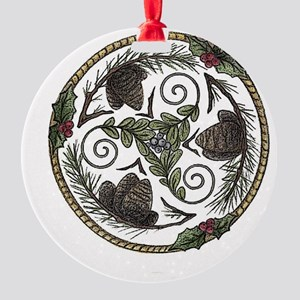 Mistletoe and Pine Trisk 2 Round Ornament
