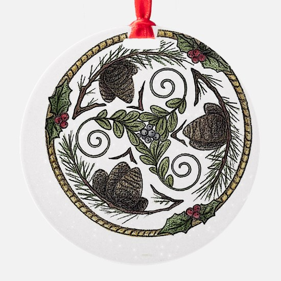 Mistletoe and Pine Trisk 2 Ornament
