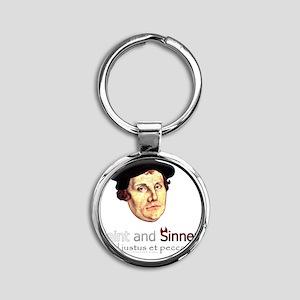 Saint and Sinner Round Keychain