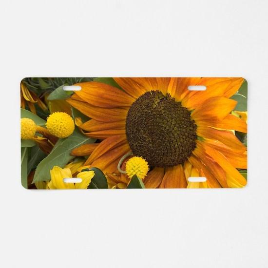 Orange Sunflower Aluminum License Plate