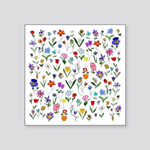 "htlc flowers field Square Sticker 3"" x 3"""