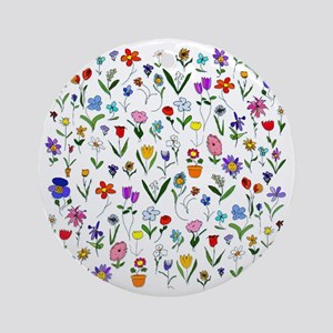 htlc flowers field Round Ornament