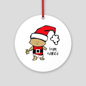santa baby team edward copy Round Ornament
