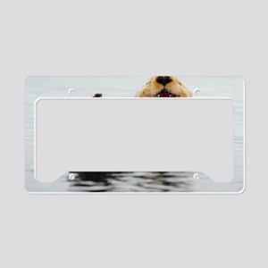 5x3oval_sticker_otter License Plate Holder