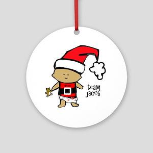 santa baby team jacob copy Round Ornament