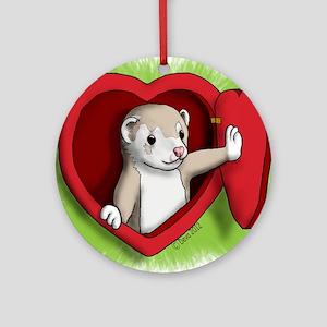 Valentine Ferret Heart Door Round Ornament