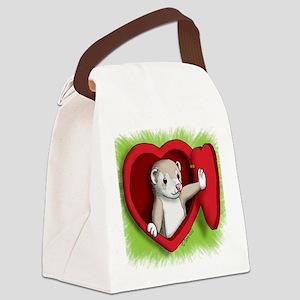Valentine Ferret Heart Door Canvas Lunch Bag