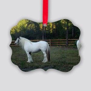 Gypsy Vanner Horses Petal  Rawnie Picture Ornament