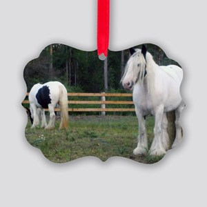 Gypsy Vanner Horses Rose Petal  R Picture Ornament
