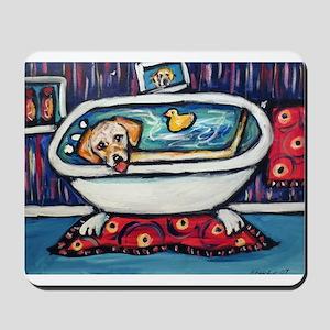 Yellow lab bathtub swim Mousepad