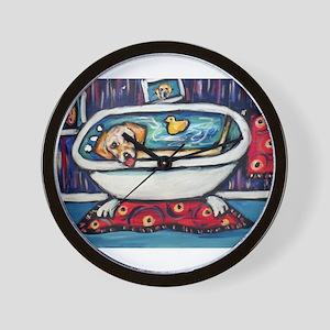 Yellow lab bathtub swim Wall Clock