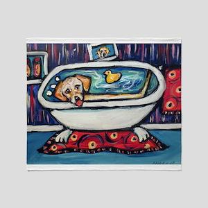 Yellow lab bathtub swim Throw Blanket