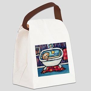 Yellow lab bathtub swim Canvas Lunch Bag
