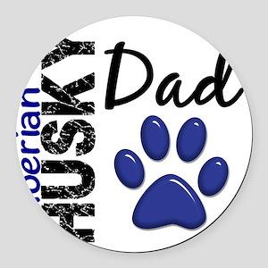 D Siberian Husky Dad 2 Round Car Magnet