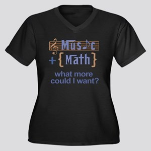 music-math3 Women's Plus Size Dark V-Neck T-Shirt