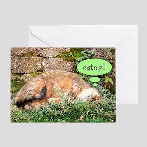 Mona Catnipping Greeting Card