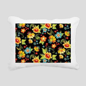 Bag Black Spring Floral Rectangular Canvas Pillow