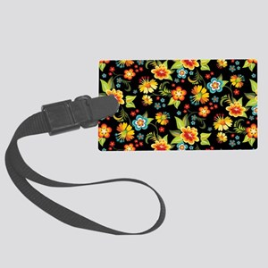 Bag Black Spring Floral Large Luggage Tag