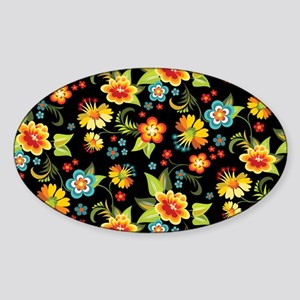 Bag Black Spring Floral Sticker (Oval)
