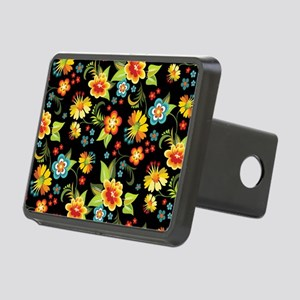 Bag Black Spring Floral Rectangular Hitch Cover