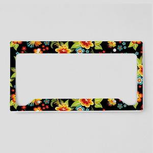 Bag Black Spring Floral License Plate Holder