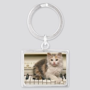piano kitten laptop Landscape Keychain