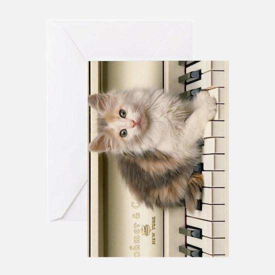 piano kitten kindle Greeting Card