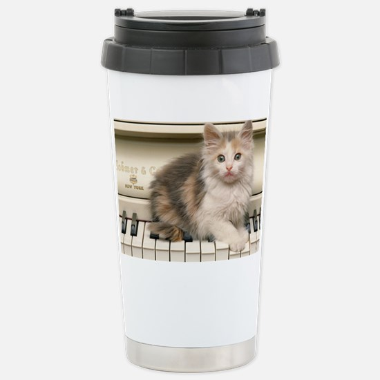 piano kitten shoulder Stainless Steel Travel Mug