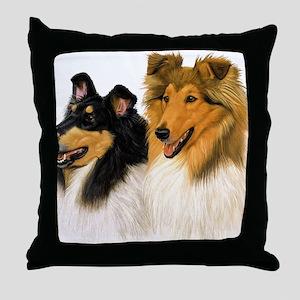 Rough Collie blanket Throw Pillow