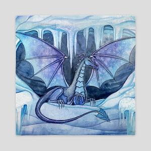 ice dragon square cp Queen Duvet