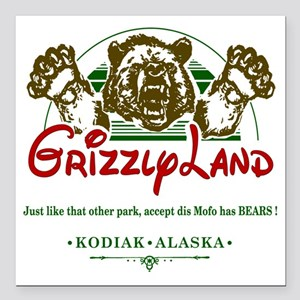"""GRIZZLYLAND_ Square Car Magnet 3"""" x 3"""""""
