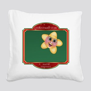 Happy Star - Christmas Star Square Canvas Pillow