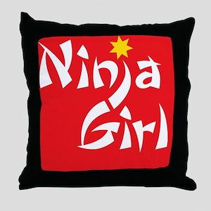 ninjagirl_ipad2_Red Throw Pillow