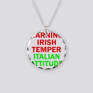 WARNINGIRISHTEMPER ITALIAN A Necklace Circle Charm