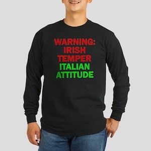 WARNINGIRISHTEMPER ITALIA Long Sleeve Dark T-Shirt