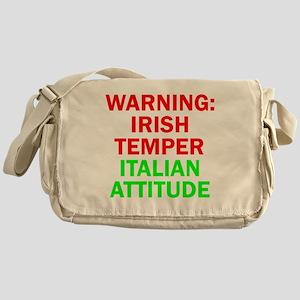 WARNINGIRISHTEMPER ITALIAN ATTITUDE Messenger Bag